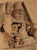 crucible at the bessemer converter, bethlehem steel, pittsburgh by thomas hart benton