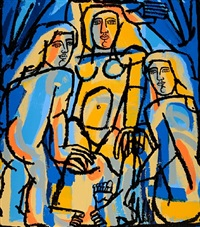 bathers in orange and blue by america martin