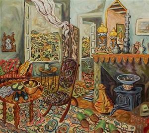 oriental room with binoculars by helen berggruen