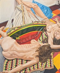 model with model ship by philip pearlstein