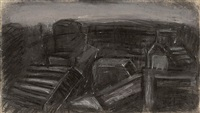 city rooftops by leon kossoff