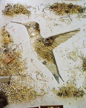 hummingbird, scrap metal by vik muniz