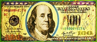new $100 bill by steve kaufman