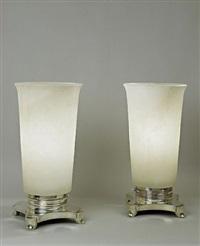 paire de grandes lampes à bases en bronze argenté striées by émile jacques ruhlmann