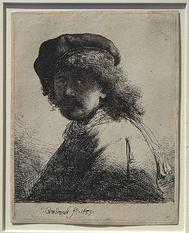 self portrait in cap and scarf with the face dark by rembrandt van rijn