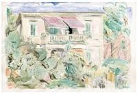 villa mit balkon und markisen (castiglioncello) by hans purrmann