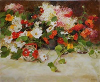 still life with zinnias by kathy anderson