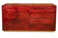 aldo tura red parchment commode with ten drawers by aldo tura