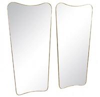 pair of gio ponti brass framed mirrors, 'le bristol' by gio ponti
