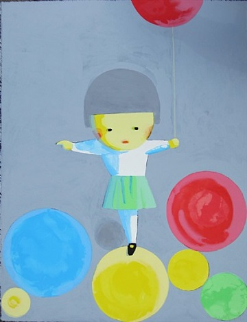 girl with balloons by liu ye