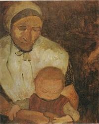 sitzende bäuerin mit kind auf dem schoß by paula modersohn-becker
