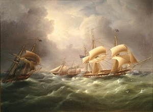 american steam schooner meets british frigates crossing the english channel, from dover to ramsgate, off the kent shoreline by james edward buttersworth