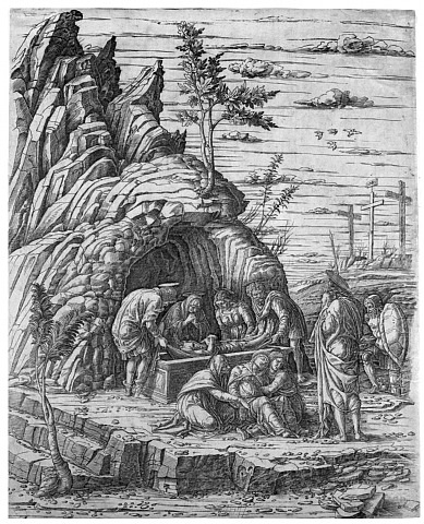 entombment with four birds by andrea mantegna