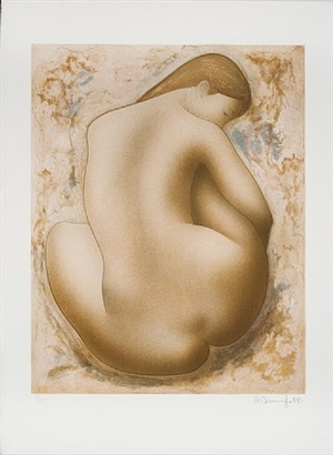 seated nude by alain bonnefoit