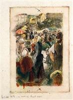 marche de gisors (rue cappeville) definitive state by camille pissarro
