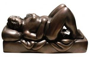 woman in bed by fernando botero