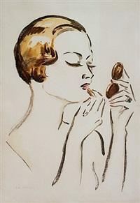 femme se maquillant by kees van dongen