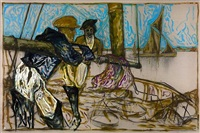 man and woman leaning on boom (oyster catchers, thames estuary 1932) by billy childish