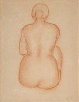 etude de femme nue assise de dos by aristide maillol