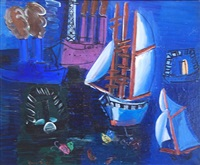 bateaux dans le port du havre by raoul dufy