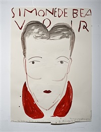simone de beauvoir (red collar) by rose wylie