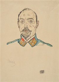 portrait of an officer by egon schiele