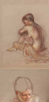 degas ballerina resting (done in collaboration with degas) by mary cassatt