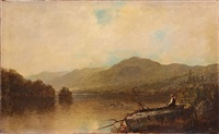 lake george, young man overlooking woman with parasol and man rowing a boat by john frederick kensett