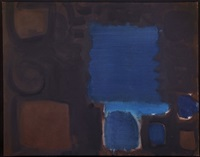serrated blue square in brown ground : july 1959 ph.59/o/20 by patrick heron