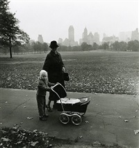 girl and governess with baby carriage, nyc by diane arbus