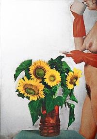 donna nuda con girasoli by michelangelo pistoletto