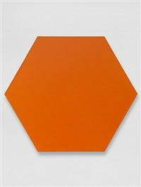 orange hexagon by olivier mosset