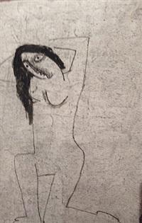two sided drawing (verso) by béla kádár