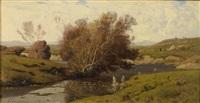 bords de rivière, auvergne by henri joseph harpignies