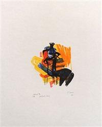 black seated figure on orange ground by henry moore