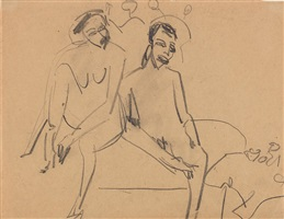 nacktes paar im atelier by ernst ludwig kirchner