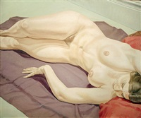 lying female nude on purple drape by philip pearlstein