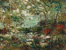 trees and rocks by ernest lawson