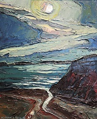 moonlit coast, deer isle, me by michael vermette