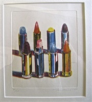 eight lipsticks (sold) by wayne thiebaud