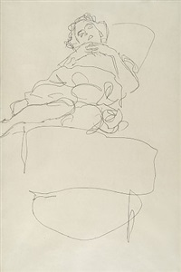 a young woman lying on a bed by gustav klimt