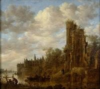 a river landscape with a ruined castle by jan josefsz van goyen