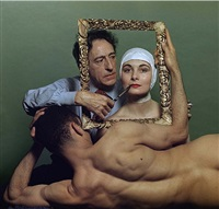 poet, artist and filmmaker jean cocteau with american actress ricki soma and american dancer leo coleman by philippe halsman
