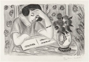 liseuse au bouquet de roses (reader with bouquet of roses) by henri matisse