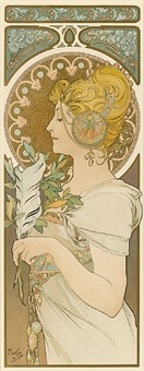 la plume (the quill) by alphonse mucha