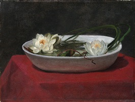 water-lilies in a white bowl, with red table-cover by john la farge