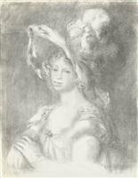 jeune femme en buste (mademoiselle dieterle) by pierre-auguste renoir