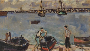 les barques au port by louis valtat
