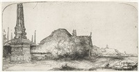 landscape with an obelisk by rembrandt van rijn