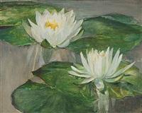 water lilies in white water -- study of faint sunlight by john la farge